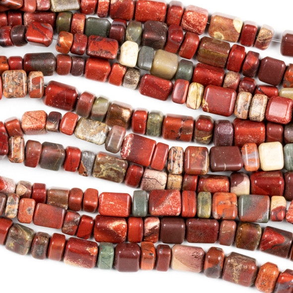 Apple Jasper 4x6-8x12mm Graduated Trillion Beads  - 15 inch strand