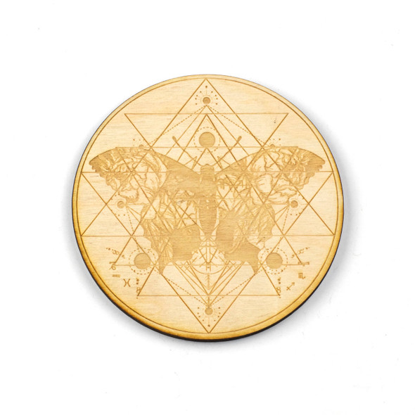 Butterfly Sri Yantra Crystal Grid - 4 inch, Birch Wood