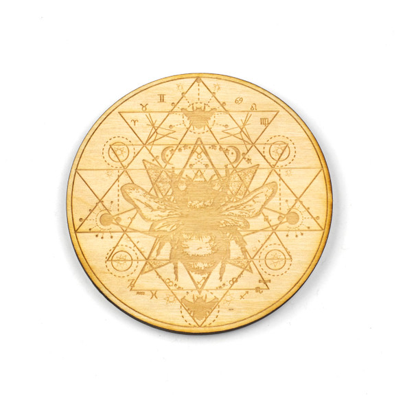 Honey Bee Sri Yantra Crystal Grid - 4 inch, Birch Wood