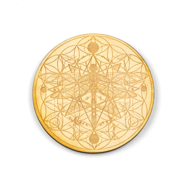 Dragonfly Flower of Life Crystal Grid - 4 inch, Birch Wood