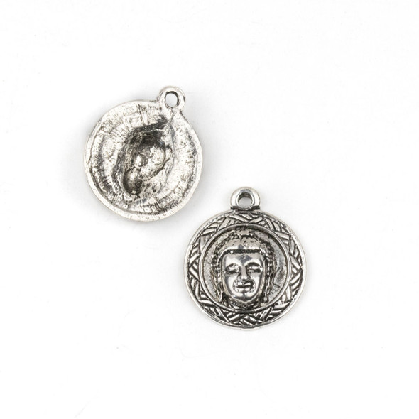 Silver Pewter 21x25mm Buddha Head Coin Pendant - 2 per bag