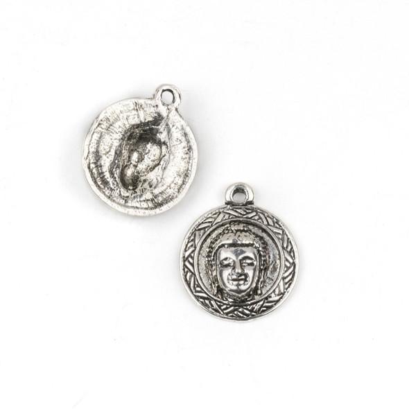 Silver Pewter 21x25mm Buddha Head Coin Pendant - 2 per bag
