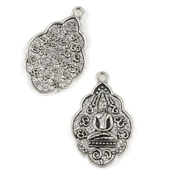 Silver Pewter 27x41mm Tibetan Buddha Pendant - 3 per bag