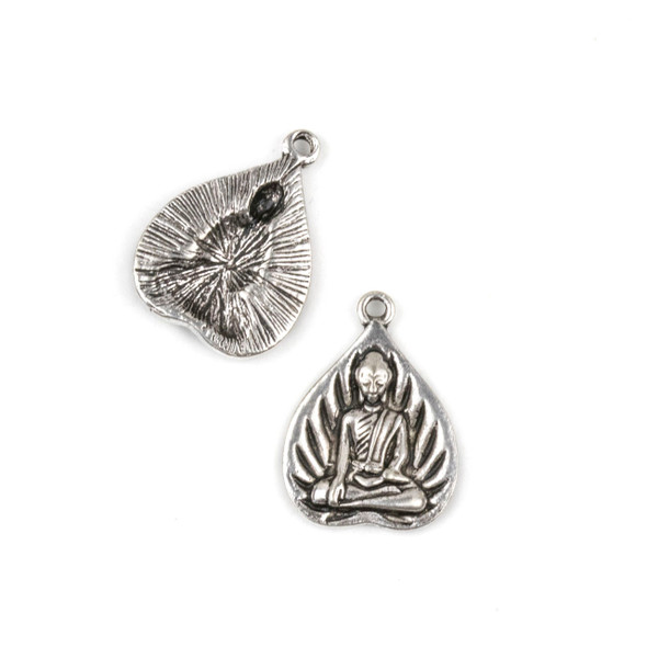 Silver Pewter 16x21mm Lotus Pose Charm - 10 per bag