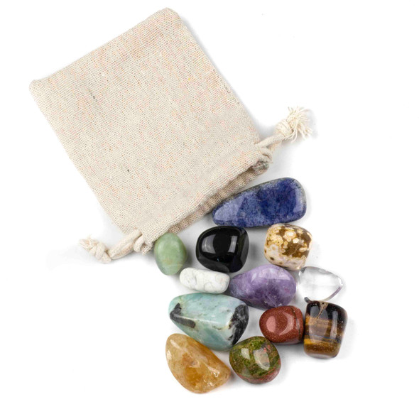 12 Assorted Tumbled Gemstones in Cloth Bag