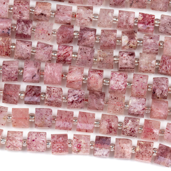 Strawberry Quartz 6x8mm Faceted Heishi Beads - 15 inch strand