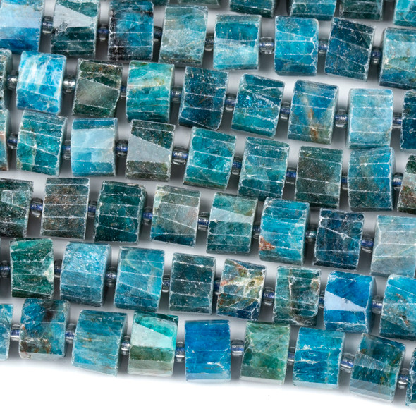 Apatite 7x10mm Faceted Heishi Beads - 15 inch strand