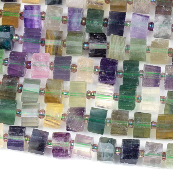 Green Fluorite 7x10mm Faceted Heishi Beads - 15 inch strand