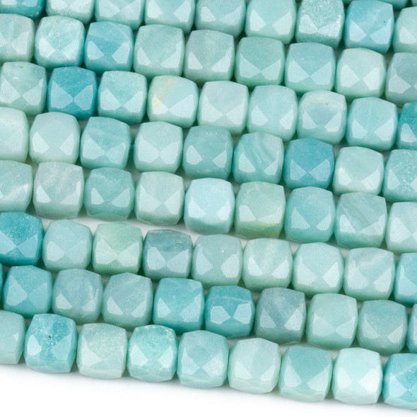 Amazonite 8mm Faceted Cube Beads - 16 inch strand