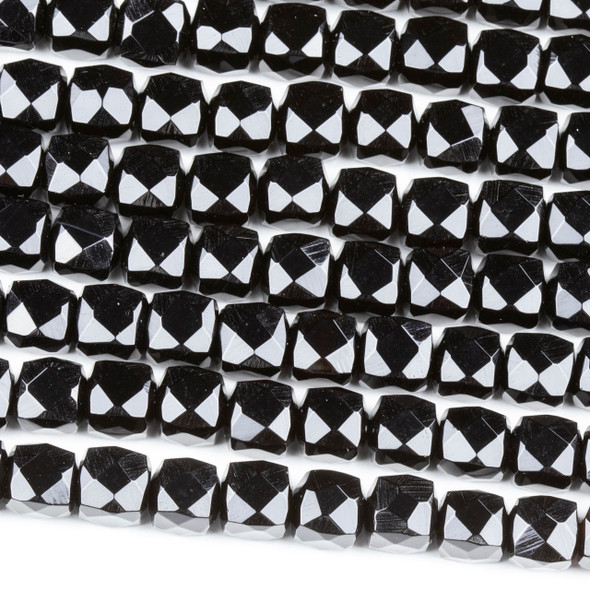 Onyx 8mm Faceted Cube Beads - 16 inch strand