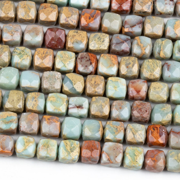Natural Impression Jasper 8mm Faceted Cube Beads - 16 inch strand