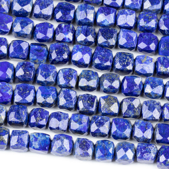 Lapis 8mm Faceted Cube Beads - 16 inch strand