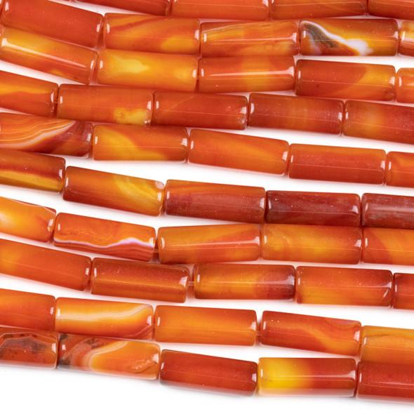 Carnelian 6x15mm Tube Beads - 15 inch strand