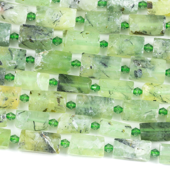 Matte Prehnite 10x15mm Faceted Tube Beads - 15 inch strand