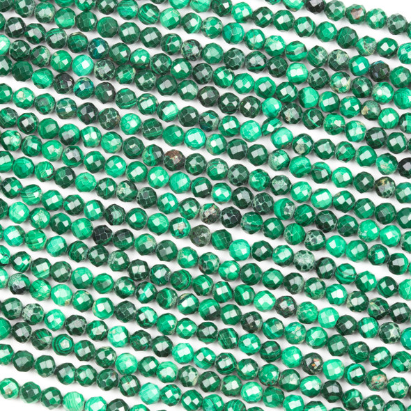 Malachite 4mm Faceted Round Beads - 15 inch strand
