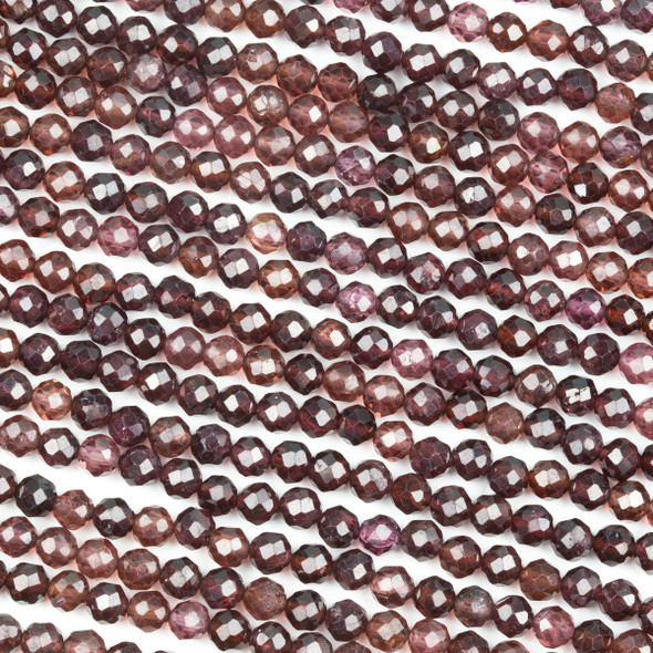 Champagne Garnet 4.5mm Faceted Round Beads - 15 inch strand