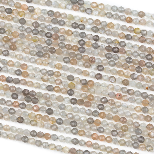 Mystic Grey Moonstone 3mm Faceted Round Beads - 15 inch strand