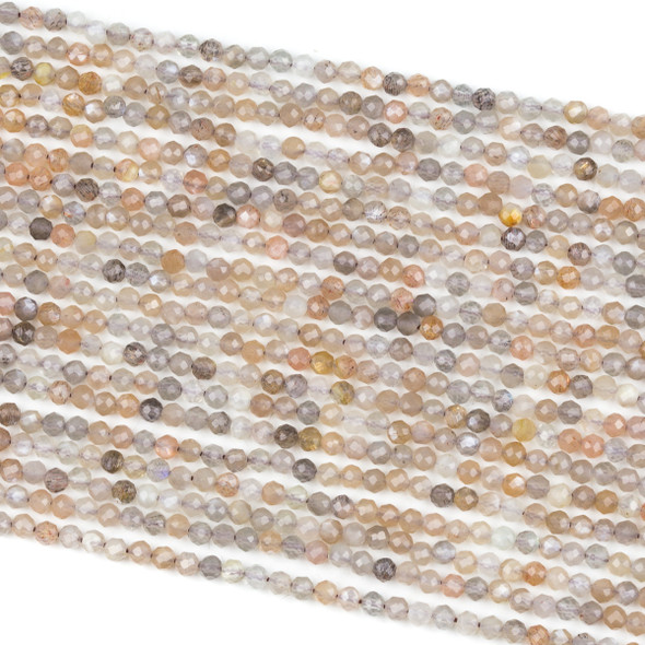 Mystic Grey & Peach Moonstone 3mm Faceted Round Beads - 15 inch strand