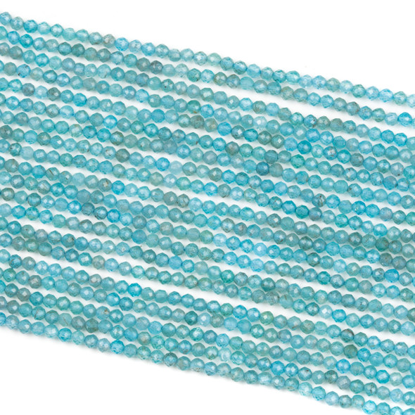 Blue Apatite 2mm Faceted Round Beads - 15.5 inch strand