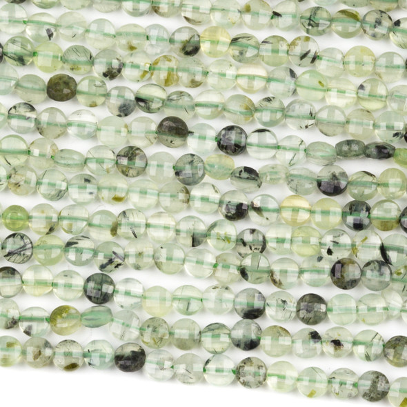 Prehnite 4mm Faceted Coin Beads - 15 inch strand