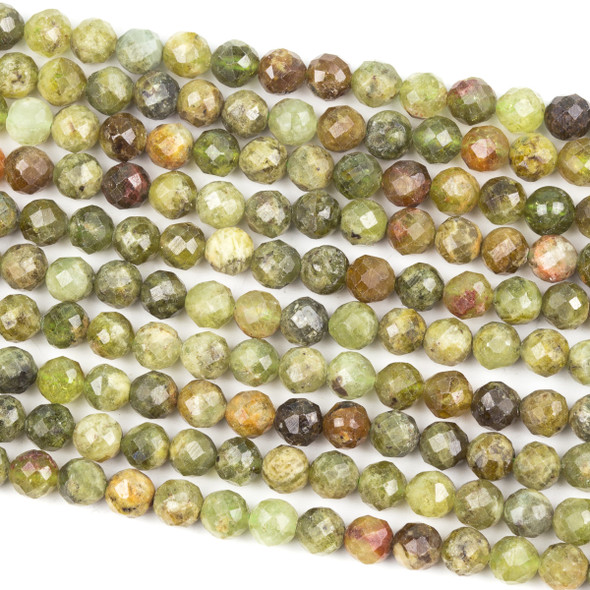 Green Garnet 6mm Faceted Round Beads - 15.5 inch strand