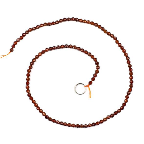 Orange Garnet 3mm Faceted Round Beads - 15 inch strand