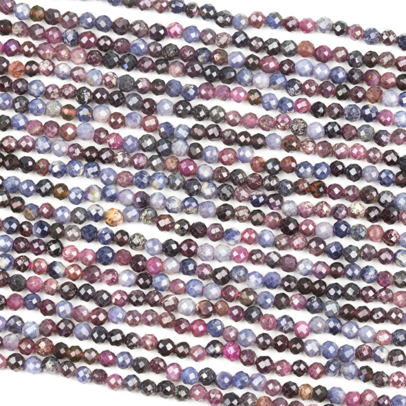 Multicolored Ruby 3mm Faceted Round Beads - 15 inch strand