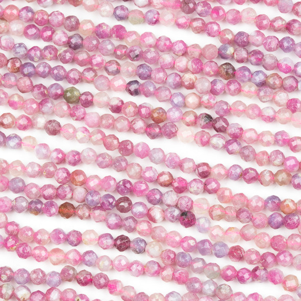 Light Pink Tourmaline 4mm Faceted Round Beads - 15.5 inch strand