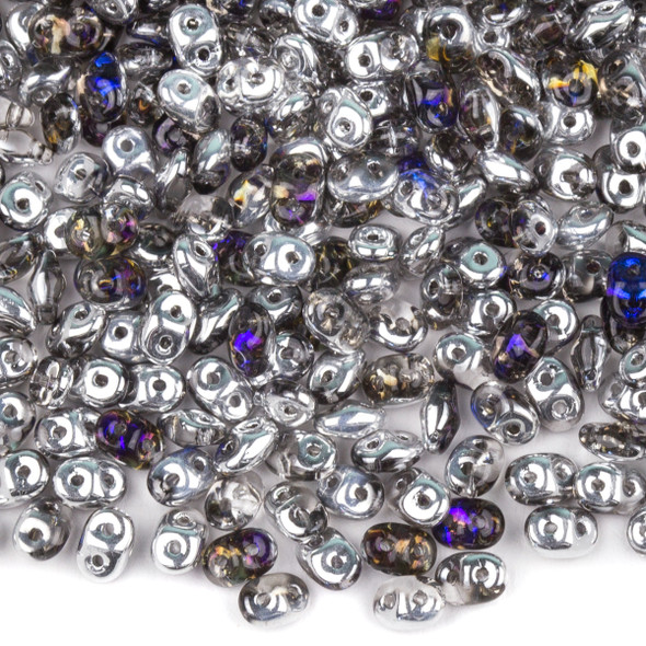 Matubo Czech Glass Superduo 2.5x5mm Seed Beads - Crystal Helio, #0500030-29536-TB, approx. 22 gram tube