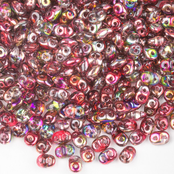 Matubo Czech Glass Superduo 2.5x5mm Seed Beads - Crystal Magic Red-Brown, #0500030-95200-TB, approx. 22 gram tube