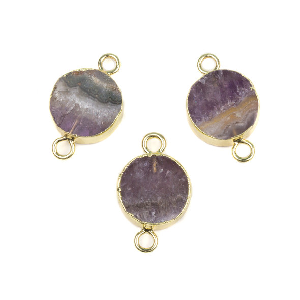 Amethyst 16x26mm Coin Link with Gold Foil Edges and Loops - 1 per bag