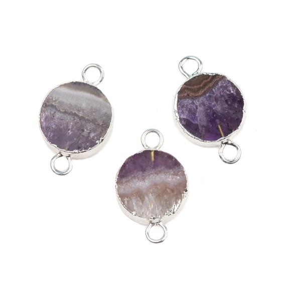 Amethyst 16x26mm Coin Link with Silver Foil Edges and Loops - 1 per bag