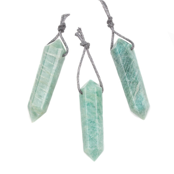 Amazonite 13x47-15x52mm Top Drilled Hexagonal Double Terminated Point Pendant - 1 per bag