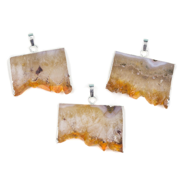 Citrine 25x33-28x40mm Druzy Rectangle Pendant with Silver Foil Edges and Bail - 1 per bag