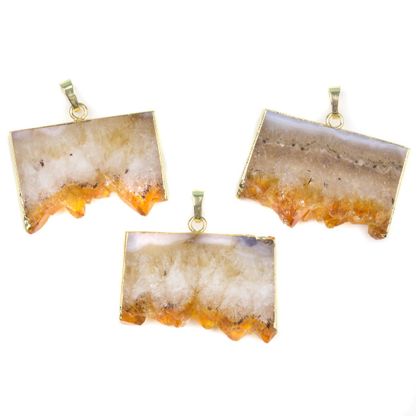 Citrine 25x33-28x40mm Druzy Rectangle Pendant with Gold Foil Edges and Bail - 1 per bag