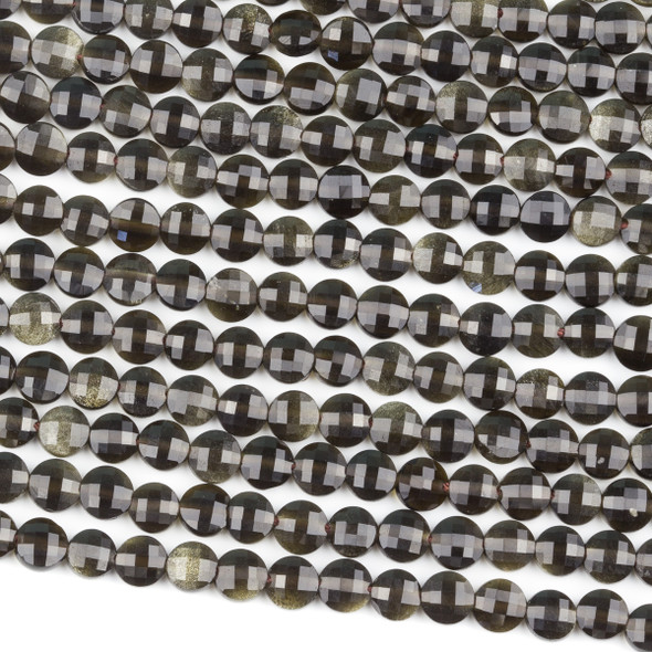 Golden Sheen Obsidian 5mm Faceted Coin Beads - 15 inch strand