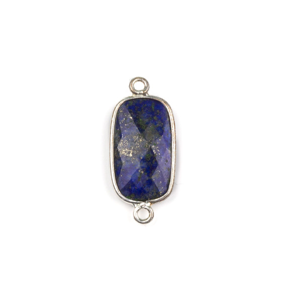 Lapis 12x25mm Faceted Rounded Rectangle Link with a Silver Plated Brass Bezel - 1 per bag