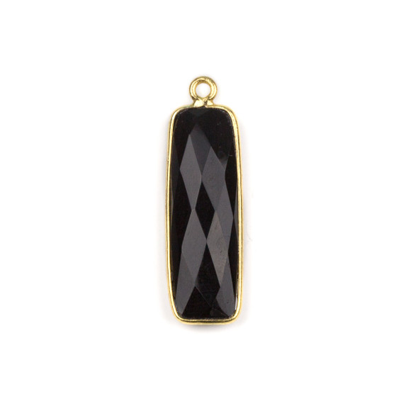 Onyx 10x30mm Faceted Rounded Rectangle Drop with a Gold Plated Brass Bezel - 1 per bag
