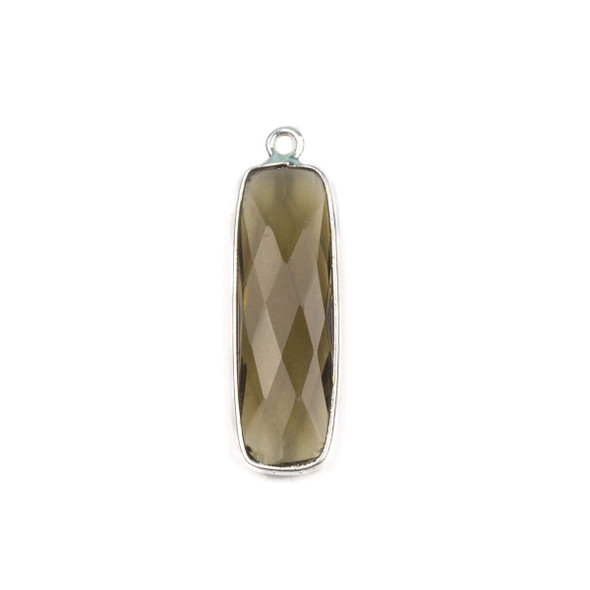 Smoky Quartz 10x30mm Faceted Rounded Rectangle Drop with a Silver Plated Brass Bezel - 1 per bag