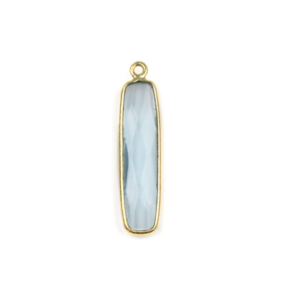 Sky Blue Quartz 8x30mm Faceted Rounded Rectangle Drop with a Gold Plated Brass Bezel - 1 per bag