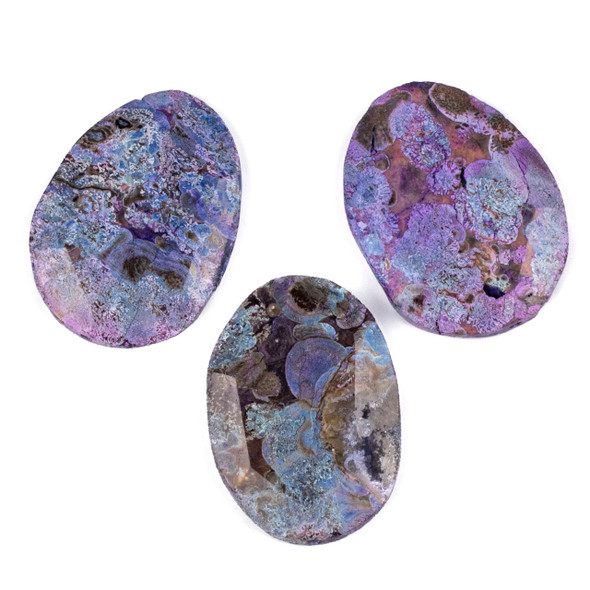 Dyed Agate Purple and Brown 40x55mm Faceted Free Form Slab Pendant - 1 per bag