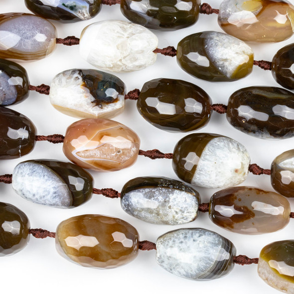 Dyed Agate Brown and White 18x26mm Faceted Nugget Beads - 16 inch knotted strand