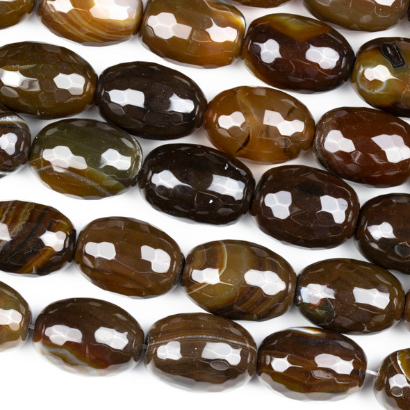 Dyed Agate Brown 18x26mm Faceted Nugget Beads - 16 inch strand