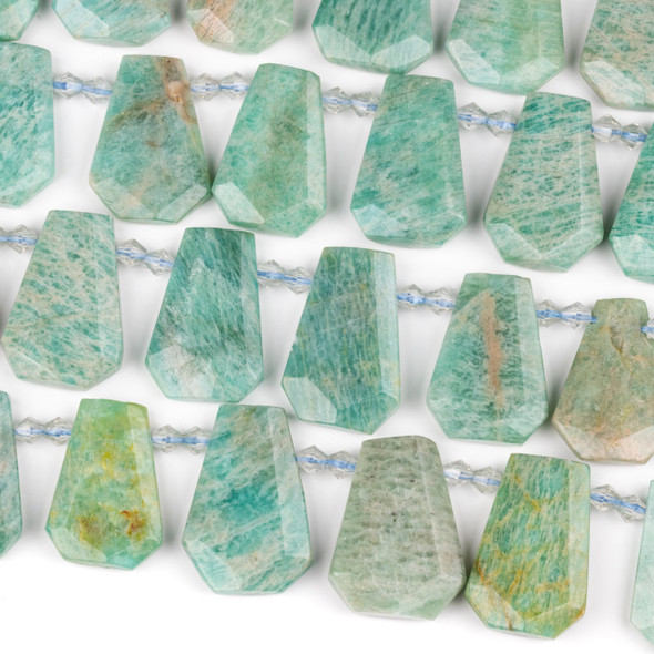 Amazonite 16-20x25-30mm Top Drilled Faceted Shield Beads - 15 inch strand