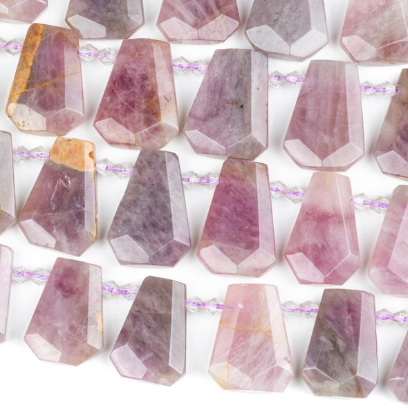 Madagascar Rose Quartz 16-20x25-30mm Top Drilled Faceted Shield Beads - 15 inch strand