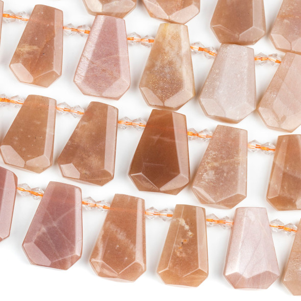 Peach Moonstone 16-20x25-30mm Top Drilled Faceted Shield Beads - 15 inch strand