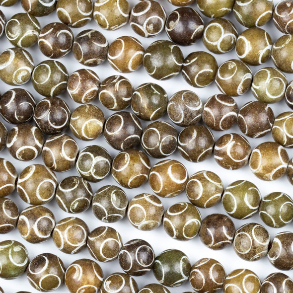 Brown Jade 8mm Carved Round Beads with Circles - 15.5 inch strand