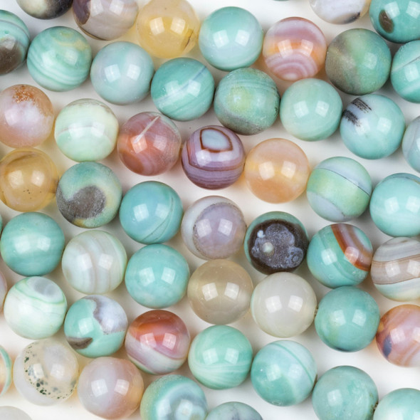 Banded Aqua Agate 10mm Round Beads - 15 inch strand