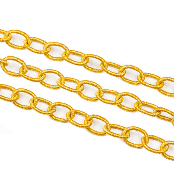 Fabric Chain - Gold, 11x16mm Irregular Oval Links, 1 Foot