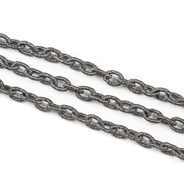 Fabric Chain - Gun Metal, 8x11mm Irregular Oval Links, Precut 1 Foot Length